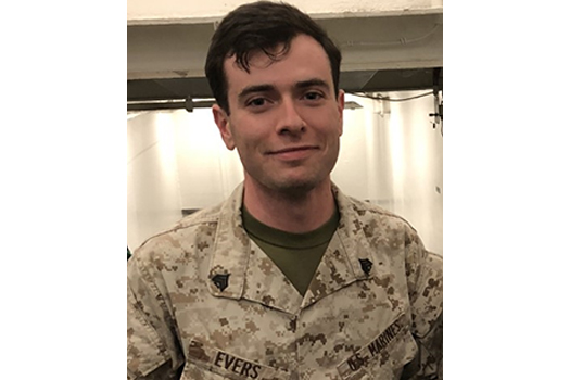 Michael Evers '23, homeland security major at UNH Manchester and U.S. Marine Corps veteran