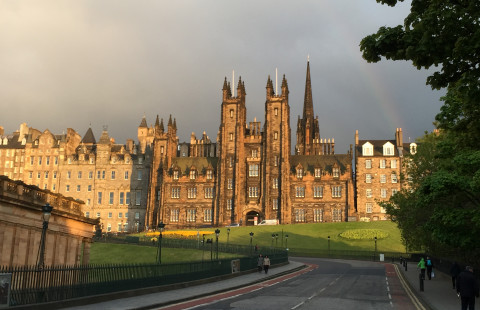 castle with rainbow