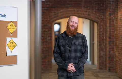 Christopher Watts is pursuing a degree in ASL/English Interpreting at UNH Manchester and is attending tuition-free thanks to UNH's Granite Guarantee financial aid program.