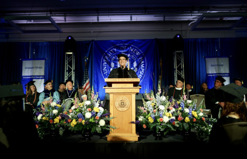 Dean Kamen delivered the keynote address at UNH Manchester's 33rd annual commencement ceremony, which celebrated the achievements of 274 students on Thursday.