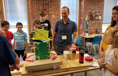 Students study earthquake engineering during one of UNH STEM Discovery Lab's summer programs.