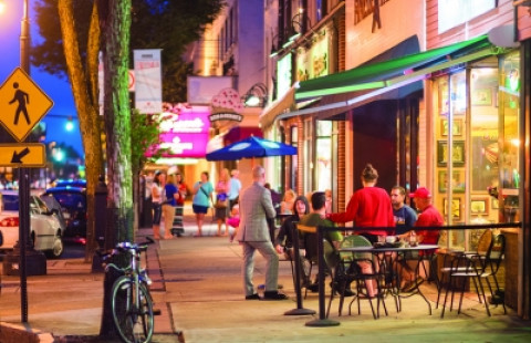Manchester street cafe in evening
