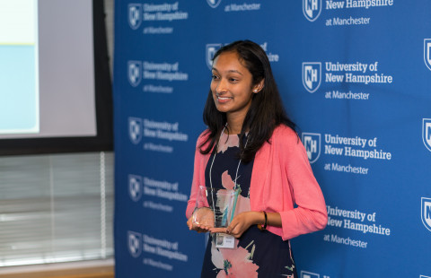 Meera Kurup, a junior at Bishop Guertin High School in Nashua, N.H., recipient of the 2017 AiC Award