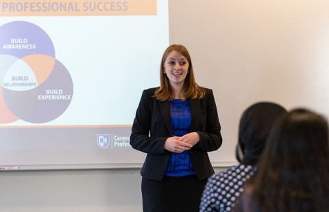 Melissa Lyon, director of CaPS at UNH Manchester, presents the Wildcat Way to Professional Success