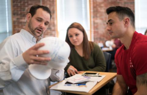 Neuropsychology professor Daniel Seichepine and students