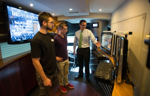 Students learn about political science and presidential campaigns aboard the C-SPAN bus
