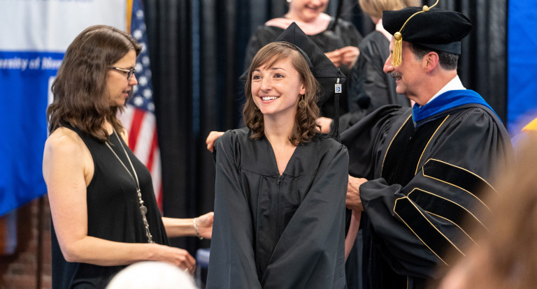 Sara Rainer, Master of Public Health candidate at the hooding ceremony