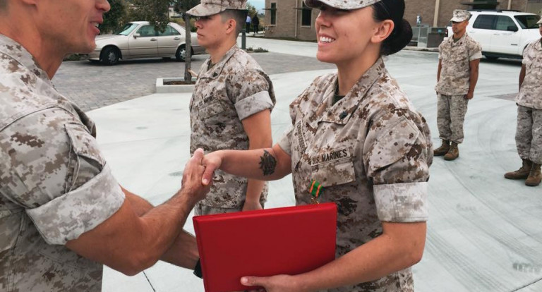 People in service shaking hands