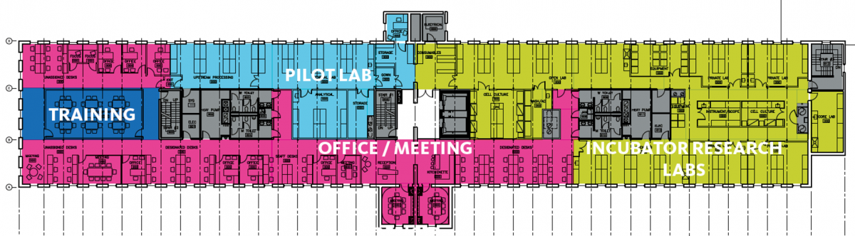 Training, pilot lab, incubator research labs and office/meeting rooms floor plan